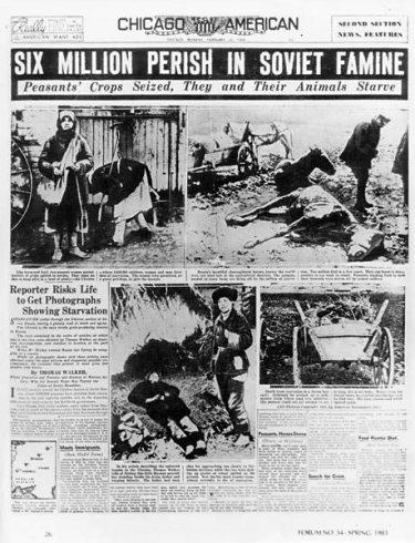Portada del Chicago's American. Seis millones perecen en la hambruna de los soviets. Los granos de los campesinos confiscados.